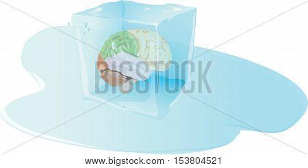 ice cube with inside human brain brain freeze,