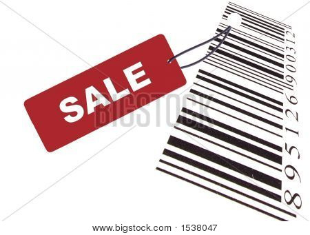 Red Sale Label With Barcode