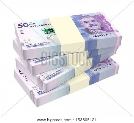 Colombian pesos bills isolated on white background. 3D illustration.