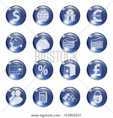 Set of icons of blue color on a subject bank. Business and Finance. Grouped for easy editing. Vector images.