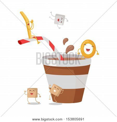 Cartoon brown and white stripe soda or juice cup with happy funny sugar, donuts and stick characters. Tasty beverage for children. Refreshment drink. Childish menu. Fizzy drink. Vector in flat style.