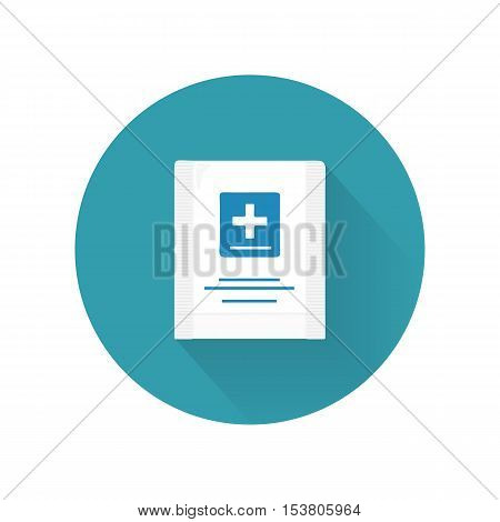 First aid kit vector illustration in flat design. Hermetic plastic bag with a cross blue. Container for sterile medical supplies. Bandages, plasters, cooling package. Isolated on white background