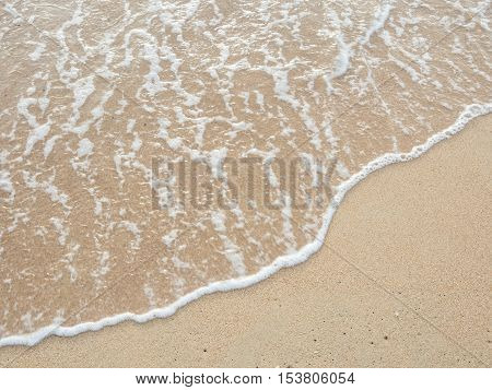 Texture of wave on the sand beach background.