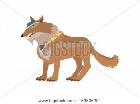 Fantastic battle riding wolf vector in flat style design. Fairy predator in armor model illustration for games industry concepts, icons and pictograms. Isolated on white background.