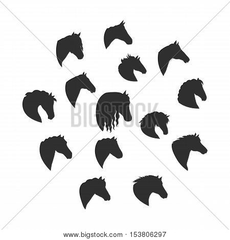 Collection os silhouettes of horse heads. Domestic animals. Vector in flat style design. For pets inforgaphics, app icons, equestrian club logo and web page design.  Isolated on white background