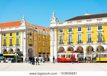Lisbon, Portugal.- May 10: Old Town Lisbon on May 10, 2016. street view of typical houses in Lisbon, Portugal, Europe