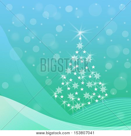 Abstract Christmas tree with sparkling snowflakes stars snow drifts a snowfall on a blue and green background - festive illustration