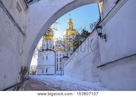 Dormition Cathedral of Kiev Pechersk Lavra Christian Monastery in winter