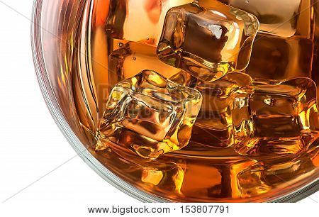 Top closeup of whiskey with ice isolated on white background