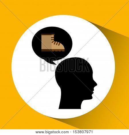 head silhouette black icon boot vector illustration eps 10