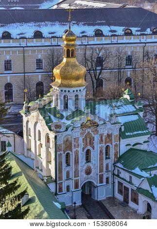 The Gate Church of the Holy Trinity in Kiev Pechersk Lavra Monastery in winter. 12th, 18th century, Ukrainian Baroque