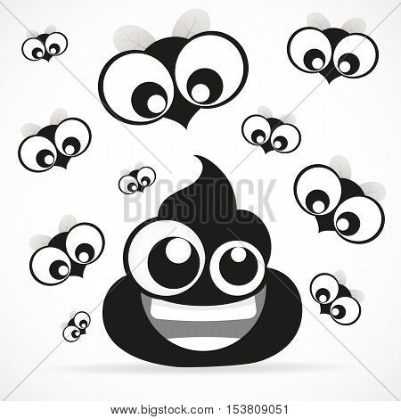 Funny turd with fly icon isolated on white background.