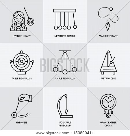 Vector line icon of pendulum types. Newton cradle metronome table pendulum perpetuum mobile gyroscope. Linear pictogram for site brochure of hypnosis hypnotherapy. Pendulum logo.