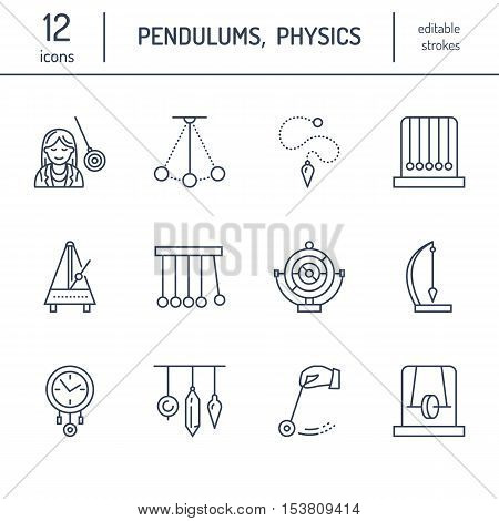 Vector line icon of pendulum types. Newton cradle metronome table pendulum perpetuum mobile gyroscope. Linear pictogram editable stroke for site brochure of hypnosis hypnotherapy. Pendulum logo.