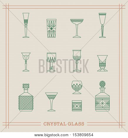 Vintage Crystal Glasses Icon Set with cut-glass decanter whisky glass wine glass and different drinks. Thin line style design