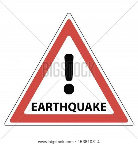 sign of the earthquake the red triangle exclamation mark and the text earthquake vector