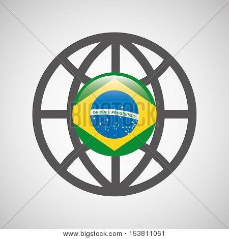 globe sphere flag brazil country button graphic vector illustration eps 10