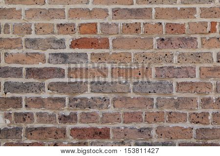 Unpainted brick wall forms a pattern that can be used for backgrounds.
