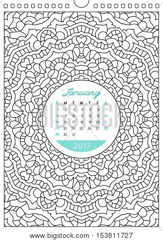wall calendar 2017 with ornament for coloring, anti stress coloring book, january