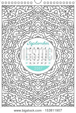 wall calendar 2017 with ornament for coloring, anti stress coloring book, september
