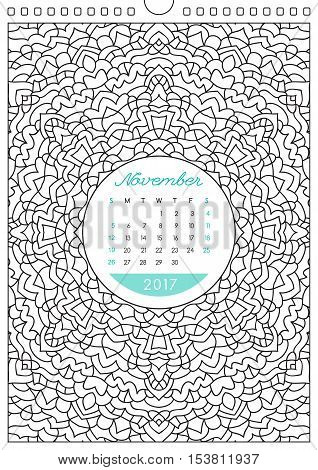 wall calendar 2017 with ornament for coloring, anti stress coloring book, november