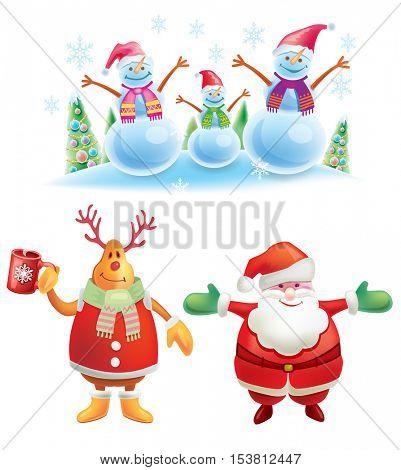 Set of colorful christmas characters