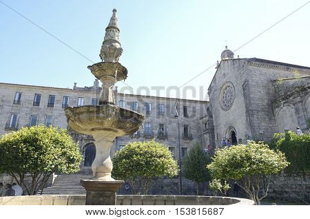 PONTEVEDRA, SPAIN - AUGUST 6, 2016: Fountain in front of the convent of San Francis in Pontevedra Galicia Spain.