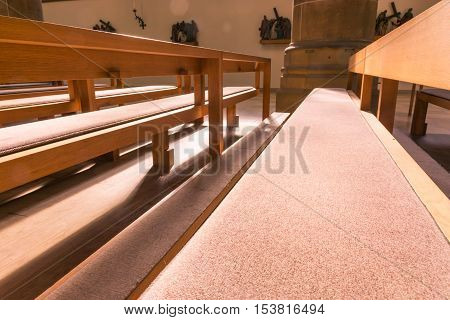 Saint Paul Church Cathedral Architecture Interior Pews Benches Historic Old Munich Germany Europe Religion Seats Chairs Worship Empty