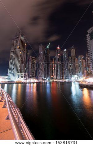 Dubai Marina at night in United Arab Emirates