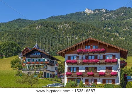 view of mountain with dicoration houses in st. Wolfgang Austria