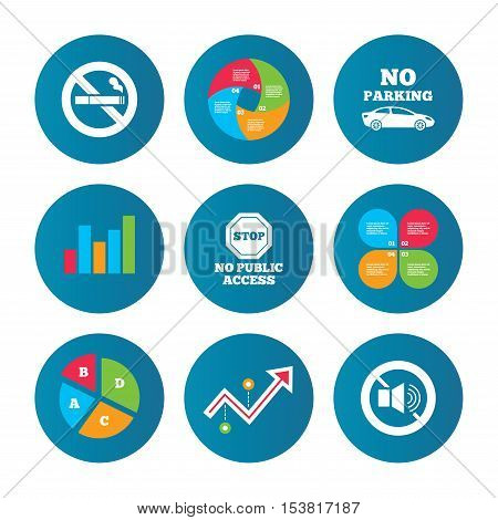 Business pie chart. Growth curve. Presentation buttons. Stop smoking and no sound signs. Private territory parking or public access. Cigarette symbol. Speaker volume. Data analysis. Vector