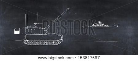 3D illustration of tank and warship painted on a blackboard
