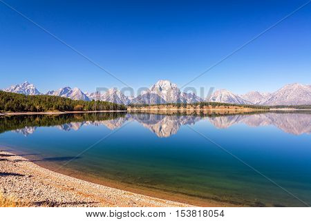 Wide Angle Mountain Range Reflection