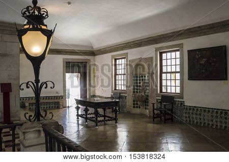 Sintra Portugal - 18th July 2016: national Palace of Sintra interior of a big room.