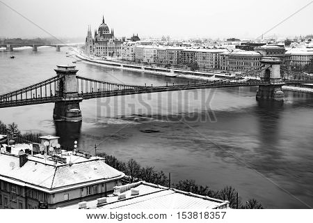 Budapest city covered by snow in winter