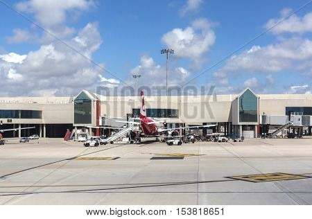 PALMA DE MALLORCA BALEARIC ISLANDS SPAIN - MAI 11 2016: Airport departure tarmac in Palma de Mallorca Balearic islands Spain on Mai 11 2016