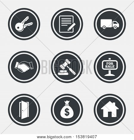 Real estate, auction icons. Handshake, for sale and money bag signs. Keys, delivery truck and door symbols. Circle flat buttons with icons and border. Vector