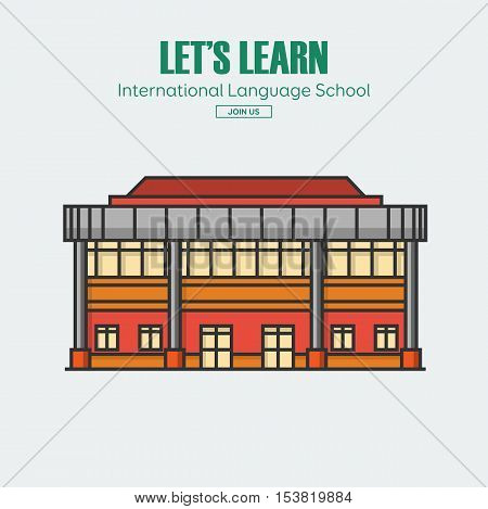 Modern public or private academy or university building, flat school building in big city. Education concept. Study place. Background for back to school poster, card, banner. Vector illustration.