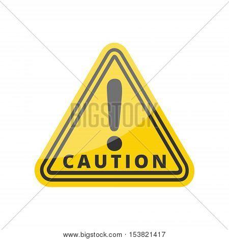 Hazard warning attention sign on white background