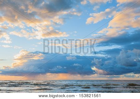 Beautiful seascape evening Baltic sea sunset horizon and cloudy sky. Tranquil scene. Natural background. Landscape. poster