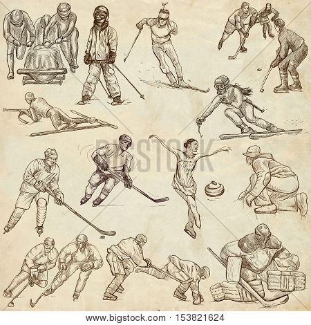 WINTER SPORTS. Collection of an hand drawn illustrations. Set of full sized drawings on old paper. Ice hockey figure skating bobsleigh and skiing pack.