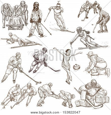 WINTER SPORTS. Collection of an hand drawn illustrations. Set of full sized drawings on white. Ice hockey figure skating bobsleigh and skiing pack.