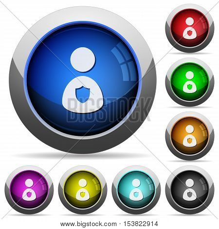Security guard icons in round glossy buttons with steel frames