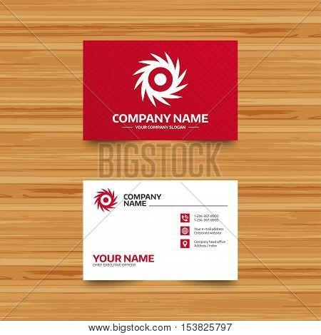 Business card template. Saw circular wheel sign icon. Cutting blade symbol. Phone, globe and pointer icons. Visiting card design. Vector