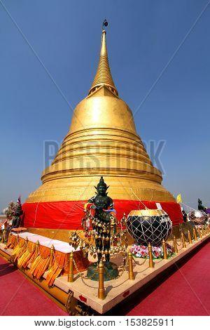 Bangkok Thailand Jan03 2014 :Golden pagoda at the golden mount of Thailand (Wat Saket temple) The padoda contain buddha relic inside.