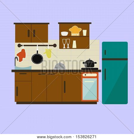 kitchen,Modern kitchen interior and cooking objects,Kitchen with furniture.Vector flat illustration. Raster version