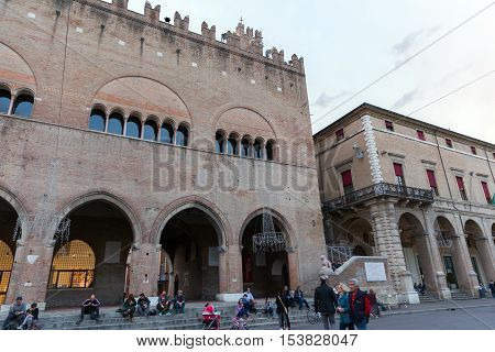 RIMINI ITALY - NOVEMBER 03 2013: Cavour square and Ducal palace. The largest resort city in Italy
