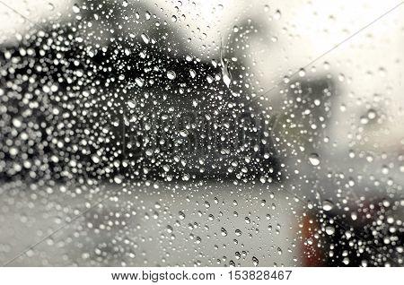 Rainy drop on the mirror, rainy season