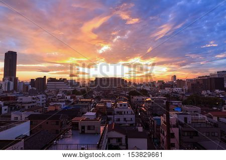 Warm and beautiful sky during sunset at Tokyo city in Japan