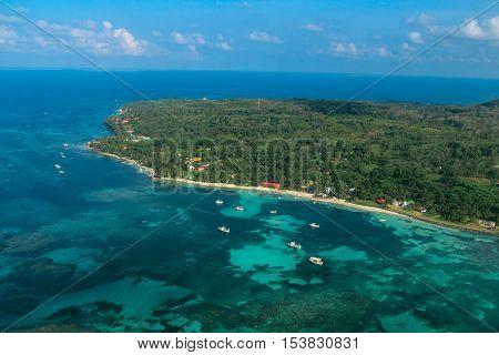 aerial view of Corn Island on Nicaragua caribbean
